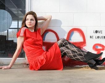 Cherry red 1980s dress