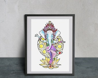 Original watercolor painting-Ganesh / Original watercolor