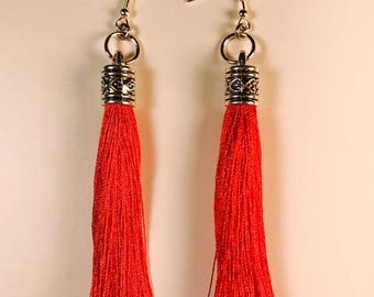 Red tassels, Tassel earrings, Long earrings, Tassels, Earrings, Drop earrings