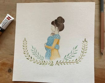 New mom watercolor (brunette)