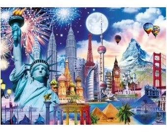 5D Diy Diamond Painting FullWorld landscape Diamond Embroidery Square Drill Mosaic Picture
