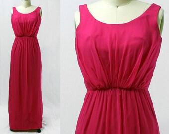 Vintage 1960s Miss Elliette Fuschia Pink Sheath Dress / Size XS