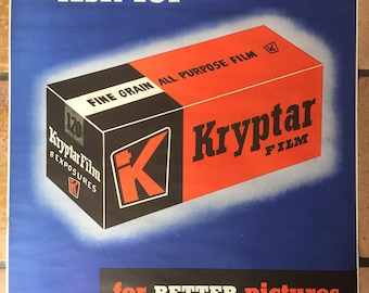 Original 1940's KRYPTAR Camera FILM Promotional POSTER 22 x 28 Photographry 1