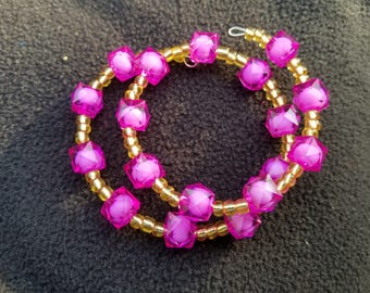 Authentic African Beaded Bracelet (Ghana) - Pink and Gold - Reiki and Oil Infused