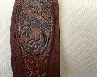 Hand-carved leather cuff/bracelet