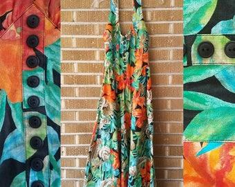 90s does 50s Hawaiian halter dress