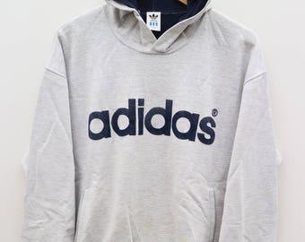 ADIDAS Sportswear Big Spell Gray Vintage Hoodies Sweater Sweatshirt Size L