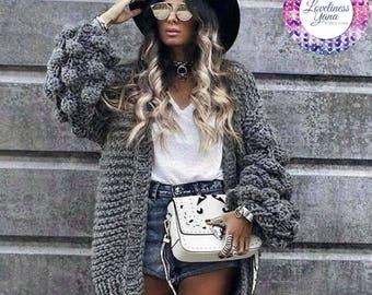 Hand Knit Cardigan for Women Oversized  Wool Cardigan Handmade Knit Pullover Warm Sweater