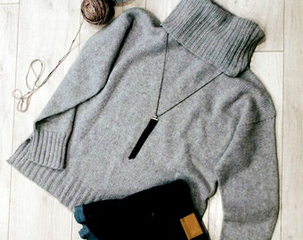 Hand made sweater cowl turtleneck cashmere hand knit