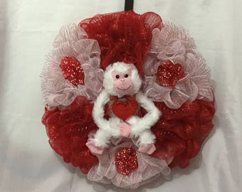 Valentine Wreath - Valentine Deco Mesh Wreath - Deco Mesh Wreath - Red Wreath