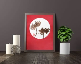 Red Chrysanthemum Zukei Print
