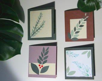 Blank Leaf Plant Greeting Cards Set of 4