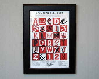 Hand Screen Printed Poster - Recycled Alphabet (FRAMED)