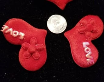 Cute Padded Applique Large Love Red Velvet Heart 6 Pieces for sewing/doll making/hairbow/scrapbooking/crafts, etc.