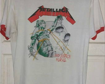 RARE. METALLICA Vintage Bootleg 80s And Justice For All Tour ringer T shirt. Large size