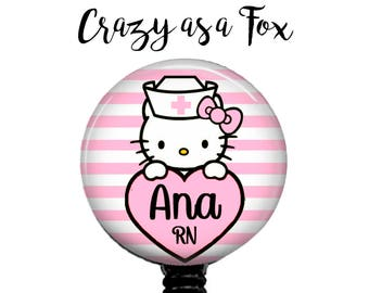Personalized Nurse Kitty Retractable Badge Holder, Badge Reel, Lanyard, Stethoscope ID Tag, Nurse  Gift