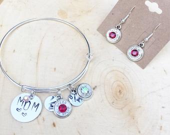 Stamped Bracelet & dangling 38Spc. Set