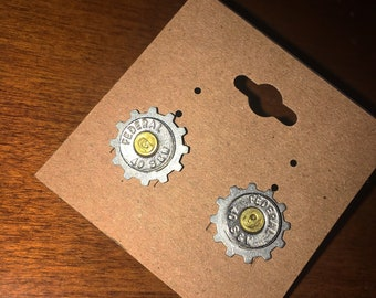 Gear Bullet Earrings