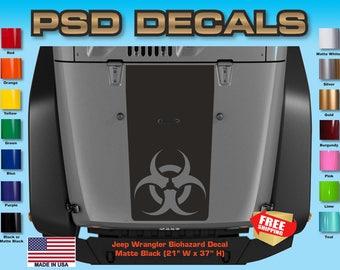 Jeep Decals Jeep Wrangler Blackout Bio-Hazard Vinyl Hood Decal H-116