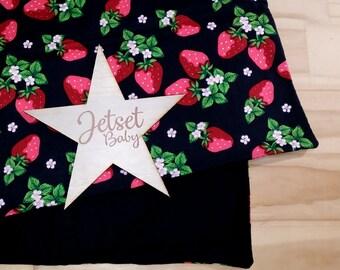 Strawberries Pram / Bassinet Blanket