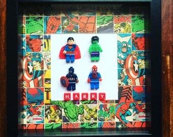 Handmade four mini Lego compatiable figures name frame, great birthday gift,superheroes