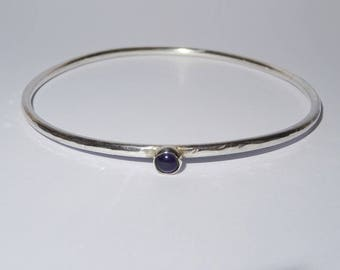 Silver Bangle with Amethyst Stone