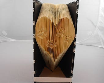 Folded Book Art - Heart with paw prints