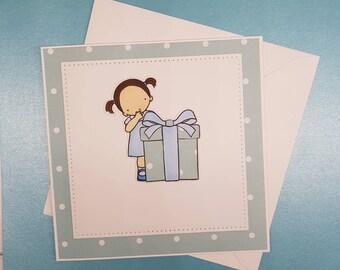 Sweet Girl - Blank Handmade Card