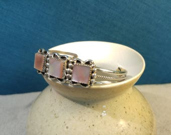 Navajo Cecil Lee Sterling Mother of Pearl Bracelet – Silver Cuff – Native American Jewelry – Southwest Bracelets – Southwest silver