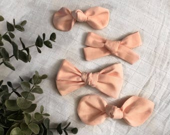 Baby Pink Salmon Classic Hand Tied Bow Bubble Knot Bows Nylon or Clip