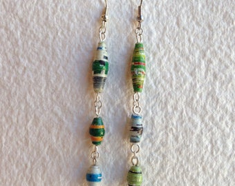 Mismatched paper dangle earrings