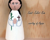 Saint Juliet Kim - Saint Peg Doll, Patron Saint, Confirmation Baptism Gift, Customizable, Custom Order, Catholic Toys, Gifts under 15
