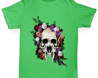 Boys Funny T Shirt Sabretooth Skull Flowers Boy's T-Shirt