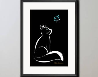 Cat with a Butterfly, Black Cat Print, Cat Wall Art, Butterfly Print, Butterfly Art, Cat Art