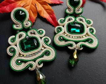 Elegant Emerald Crystal Soutache Earrings Statement Dangle Drop Earrings Unique Boho Chic Wedding Earrings