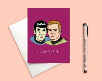 Kirk And Spock Valentineu0027s Day Card   Itu0027s Complicated, Funny Card, Love  Card,