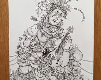 Harlequin Mandolin Drawing