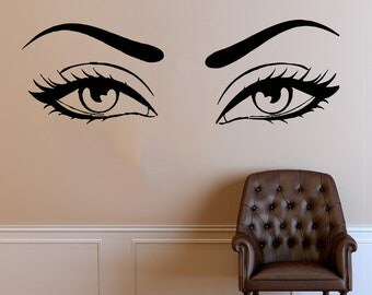 Wall Decal Window Sticker Beauty Salon Woman Face Eyelashes Lashes Eyebrows Brows t674