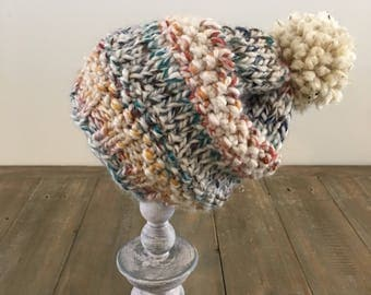Multicolored hand knit hat with beige speckled pom - THE JOSAPHEEN -