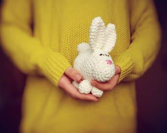 Ready to ship_White cute bunny_handmade