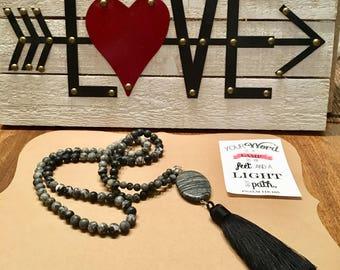 Gorgeous black & gray jasper tassel necklace