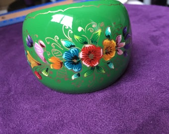 Copper with enamel hand painted beautiful flowers cuff bracelet