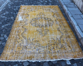 Turkish Overdyed Rug Free Shipping 5.6 x 9 ft. large area rug, Turkish rug, bohemian rug, nomadic rug, boho rug, oushak rug, MB317