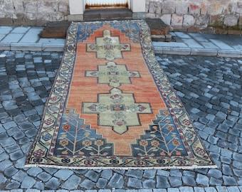 Turkish runner area rug, Free Shipping 4.8 x 12.5 ft. aztec turkish rug, bohemian runner rug, handknotted floor rug, tradational rug, MB344