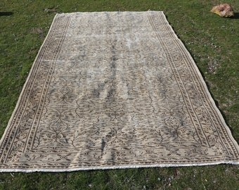 Flowered rug, 6.1 x 10.2 ft. Free Shipping, turkish rug, oushak rug, handknotted area rug, low pile rug, organic wool rug, nomadic rug MB559