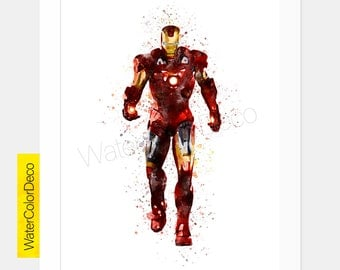 Iron Man Print, Iron Man Poster, Iron man Wall Art, Wall Hanging, Watercolor Painting Effect, Kid Nursery Poster, DOWNLOAD V153