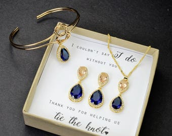 morganite Wedding Jewelry Bridesmaid Earrings Jewelry Blush champagne Sapphire Navy Blue Gold Teardrop Bridal Earrings bridesmaid gift set 6