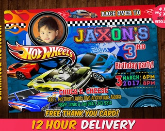 Hot Wheels Invitation with Photo and FREE Thank you card, Hot Wheels Birthday, Hot Wheels, Hot Wheels Card, Hot Wheels Party,