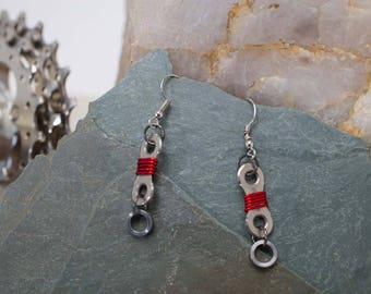 Single Link Bike Chain Earrings - Wrapped! (roller under)