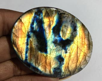 174.6 Cts 100% Natural Medagascar's Labradorite Cabochon Yellow Multi Fire Polished Cabochon Healing Quartz Oval Shape 67x52x5 mm N#1477-56
